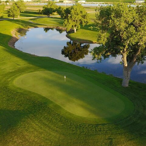 Aerial view of one of the holes on the course at Iron Eagle Golf Course