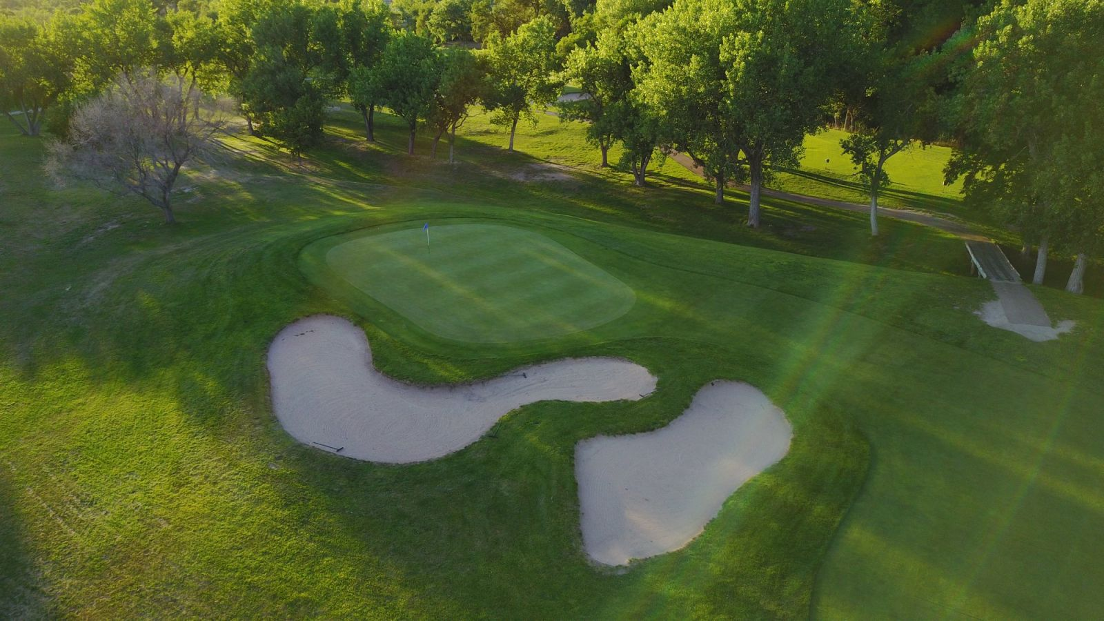 An aerial view of two sand traps on the course at Iron Eagle Golf Course in North Platte, Nebraska