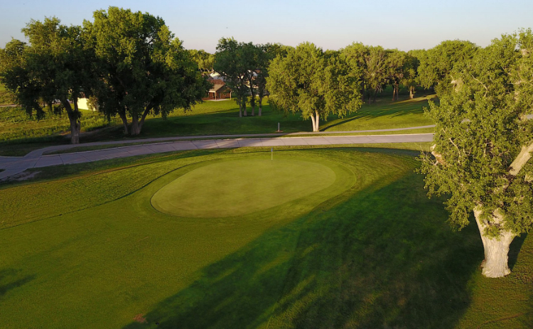 An aerial view of one of the holes at Iron Eagle Golf Course